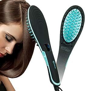Cepillo alisador de pelo Apalus, alisador de pelo, peinado y alisado de cabello en una pasada, con función de temperatura constante, apagado automático y de rápido calentamiento (Negro)