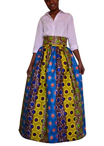 YiLianDa Mujeres Bohemio Playa Fiesta partido Maxi Largo Falda Plisada Long Skirt como la imagen