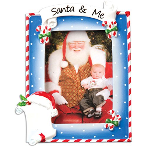 Personalized Santa and Me Picture Frame Christmas Ornament for Tree 2018 - Generic Photo Display Candy Cane Present Milestone Memory Baby First Visit Grand-Kids Child List Free Customization by Elves - Pole Christmas Frame