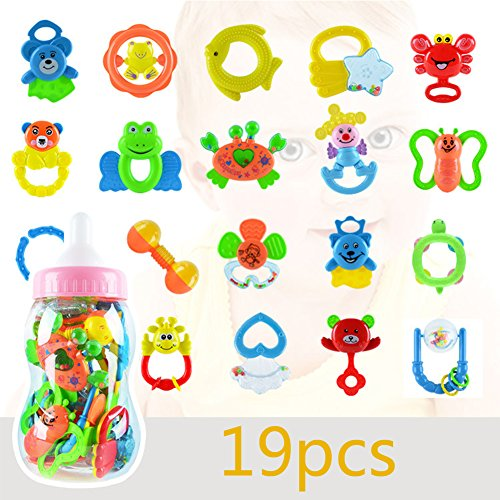 Gouptec Health Environmental ABS non-toxic19 Pieces Baby Teether Toy Baby Comfort Toys 0-3years Rattle Baby Bottle Play Gift Sets