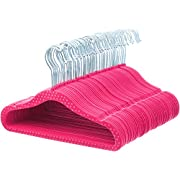 AmazonBasics Kids Velvet Hangers - 50-Pack, Pink Polka Dot