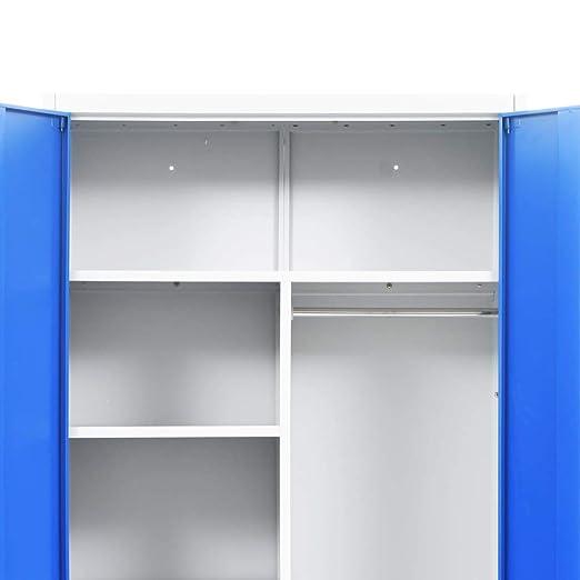 Festnight- Armario Taquilla con 2 Puertas Archivador de Oficina con 6 Compartimentos Metal 90x40x180 cm Gris y Azul: Amazon.es: Hogar