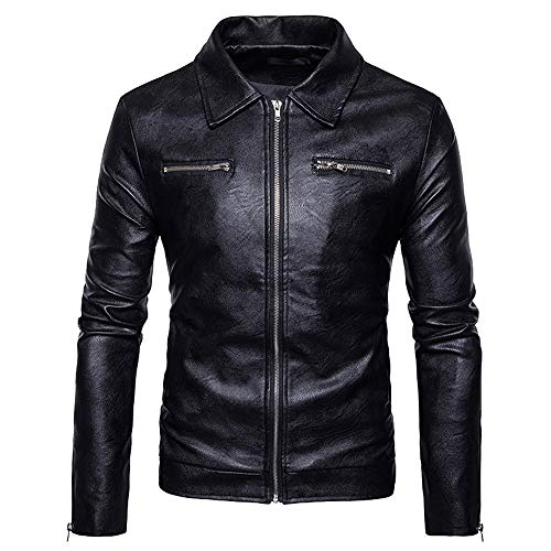 Mens Gore Tex Motorcycle Jacket - UOFOCO Motorcycle Zipper Jacket for Men Autumn Winter Leather Biker Blouse Outwear Coat Tops