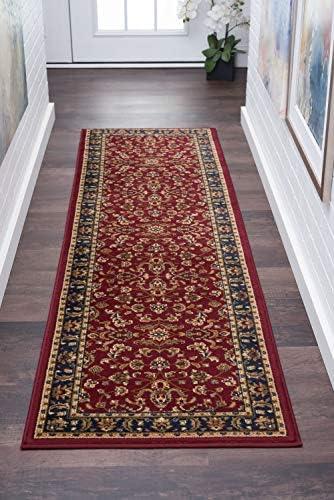 Sariya Transitional Oriental Red Runner Rug, 2 x 7