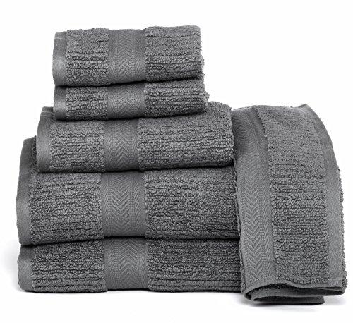 ELEGANCE SPA CASA LINO Quick Dry Towels 100% Cotton Zero Twist Towel Set 6-Piece, Soft Absorbent, spa Towels 2 Bath Towels, 2 Hand Towels, 2 Face Towels Set (Grey)