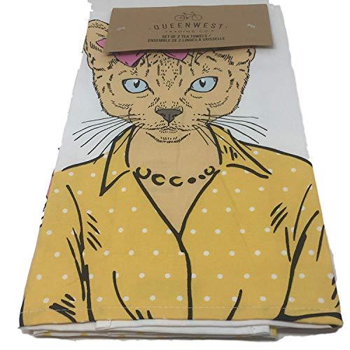 Dots Tea Towel - Queenwest Trading Co Cat in Pearls and Coordinating Polka Dots Tea Towels