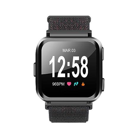 Favourall Fitbit Versa Pulsera, gewobenes Correa de Nylon Deportes Muñeca Reloj Banda para Brazo Maduro