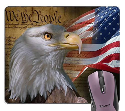 Knseva Vintage USA Flag American Patriotic Eagle Quotes Mouse Pad