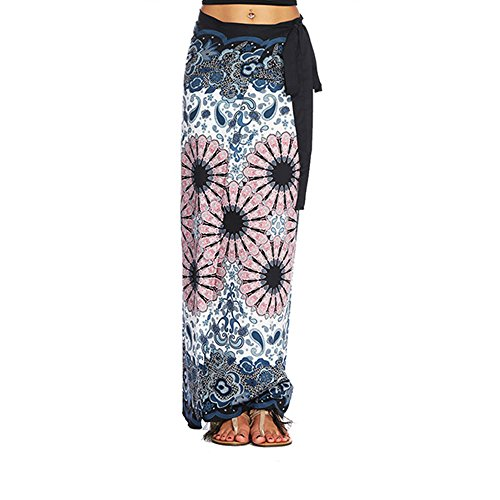(Women's Boho Bohemian Hippie Skirt Long Maxi Print Wrap Skirt Cover up Maxi ummer Travel Beach Skirt One Size (Pink, One)