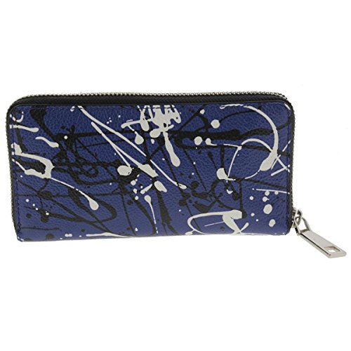Marc By Marc Jacobs Leather Clutch (Marc Jacobs Womens Splatter Paint Continental Leather Clutch Wallet Blue O/S)