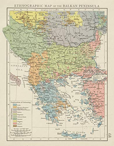 Amazon.com: Balkan Peninsula ethnographic map. Greeks Bulgarians ...
