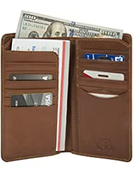 Luggage Depot USA, LLC Mens Tony Perotti Italian Leather Bifold Checkbook Breast Pocket Wallet, Cognac