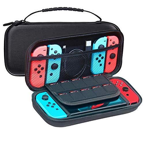 JFUNE Travel Carry Case bag for Nintendo Switch Protective, Travel Carry Case Pouch for Nintendo Switch Console & Accessories + Tempered Glass Switch Sreen Protector (Gift)