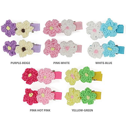 Crochet Flower Clip - Trendy Apparel Shop Girl's 2 Piece Crochet Flower Hair Clip Barrette 5 Pack Set - ASSORT