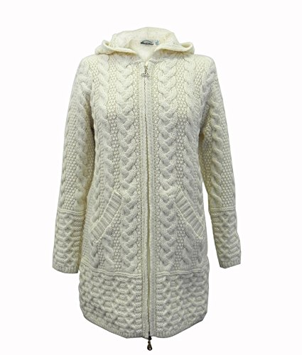 100% Irish Merino Wool Ladies Hooded Aran Zip Sweater Coat Natural XL by The Irish Store - Irish Gifts from Ireland