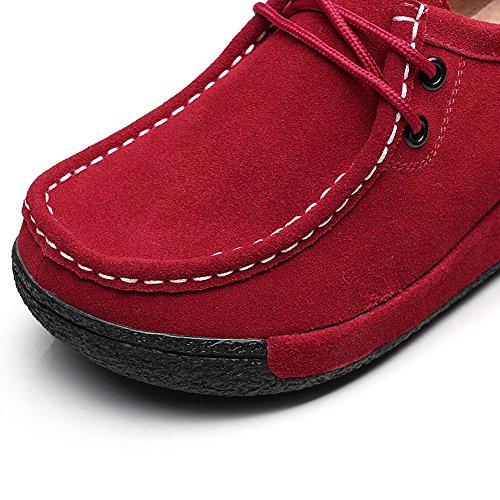 Shenn Mujer Formal Plataforma Oculto Tacón Cuña Gamuza Zapatillas De Moda Zapatos Rojo