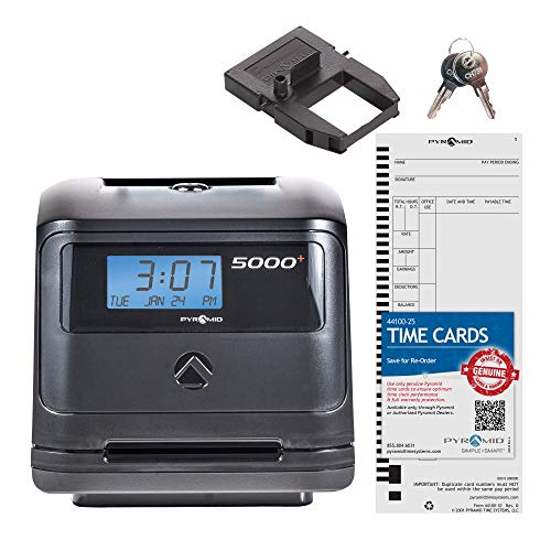 Pyramid 5000 Auto Totaling Time Clock, 100 Employees - Made in - Time Weekly Tops Bi Clock