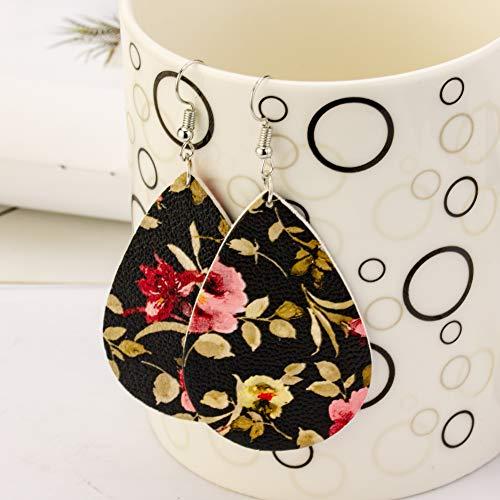 Leather Earrings Floral Leather Leaf Earrings Meaning Different Season  Teardrop Dangle Handmade for Women Girls