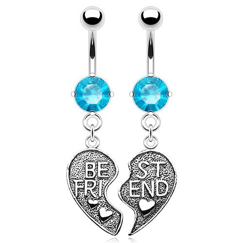 Best Friend Heart Charm and CZ gem Dangle Belly Navel Rings - Pair Set of 2 - Clear, Aqua, or Pink (Aqua)