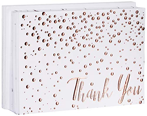 Thank You Cards - 20 Pack of (A7) 5x7 Rose Gold Confetti Premium Heavyweight Cards and Rose Gold Foil Lined Envelopes - Large Enough To Include a 4x6 Photo Inside (Thank You Card Snowflake)