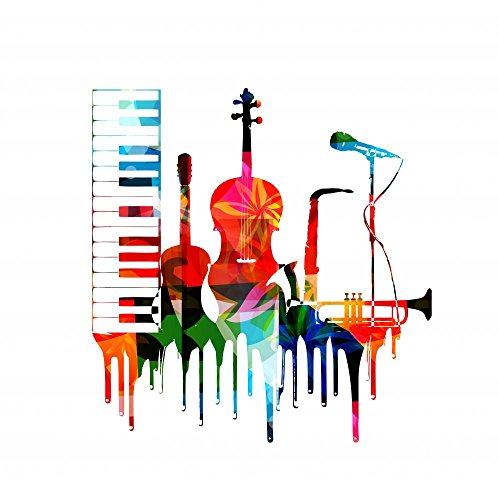 Musical Mural - Wallmonkeys FOT-77289889-18 WM170512 Colorful Musical Instruments Design Peel and Stick Wall Decals H x 18 in W, 18