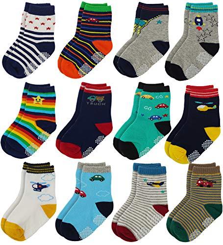 Flanhiri Baby Boys Toddler Non Skid Cotton Socks with Grip (0-6 Months, 12 Pairs - Set 2)