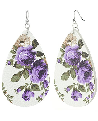 Women's Faux Leather Floral Print Teardrop Dangle Pierced Earrings, (Floral Print Leather)