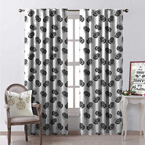 (Hengshu Rose Window Curtain Drape Retro Revival Pattern Abstract Blossoms Petals in Grey Shades Customized Curtains W96 x L84 Grey Pale Grey and White)