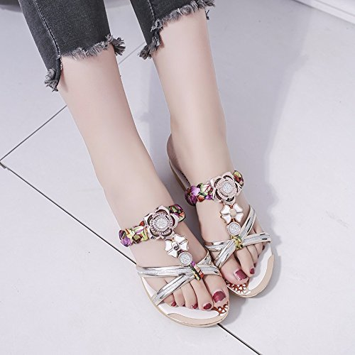 Stylish non women's version The flowers XIAOGEGE shoes exposed the and Korean field Gold cool slip of slippers wtxXdx