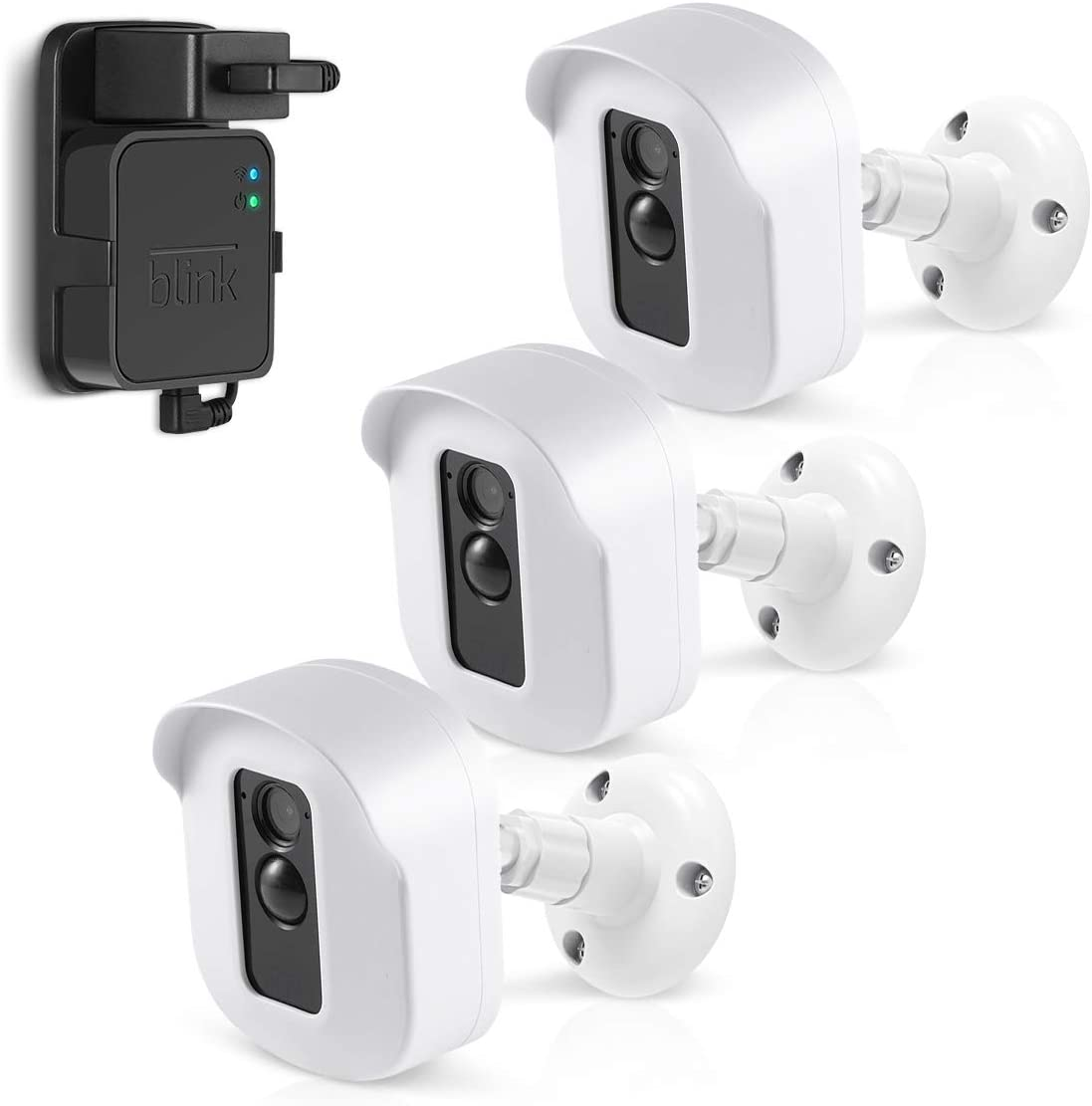 Blink XT2 Camera Wall Mount Bracket, Caremoo 3 Pack Weatherproof Protective Housing/Mount and Blink Sync Module Outlet Mount for Blink XT2/ Blink XT Outdoor/Indoor Smart Security Camera (White)