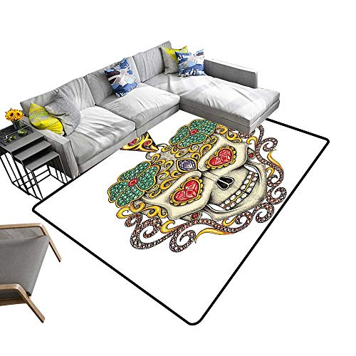 Printed Carpet The Dead Sugar Skull with Heart Pendants and Floral Jewelry Print White Maximum Absorbent Soft 24 x 40 inch ()