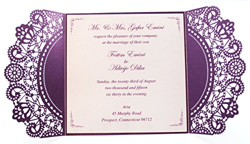 Purple Wedding Invitation Cards with White Ribbon Bow (50) by After (Image #4)
