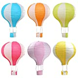 Famgee 12 inch Hanging Hot Air Balloon Paper Lanterns Set Party Decoration Birthday Wedding Christmas Party Decor Gift Stripe Set Pack of 6 Pieces