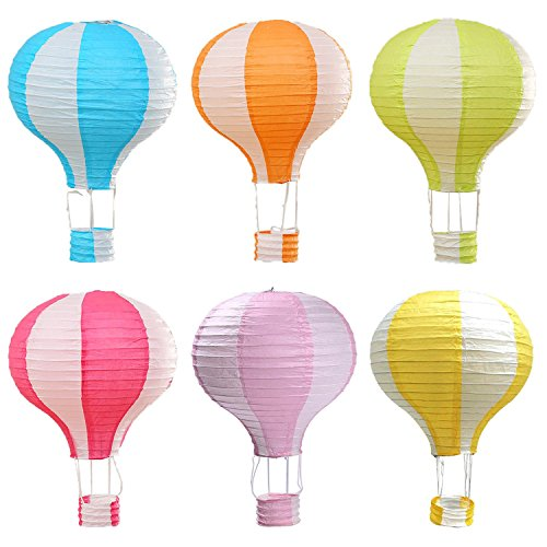 Famgee 12 inch Hanging Hot Air Balloon Paper Lanterns Set Party Decoration Birthday Wedding Christmas Party Decor Gift Stripe Set Pack of 6 Pieces -