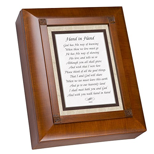 Cottage Garden Hand in Hand Woodgrain Rememberance Keepsake Box (Garden Keepsake)