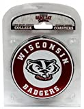 Game Day Outfitters NCAA Wisconsin Badgers Coaster Set with Team Logo (Pack of 4)