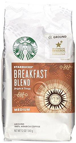 Starbucks, Medium Roast, Breakfast Blend, Ground Coffee, 12oz Bag (Pack of 2)