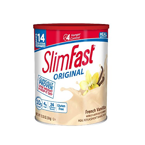 Slim Fast Original weight loss Meal Replacement shake mix powder with 10g of protein and 4g of fiber plus 24 Vitamins and Minerals per serving, French Vanilla,  12.83 Oz