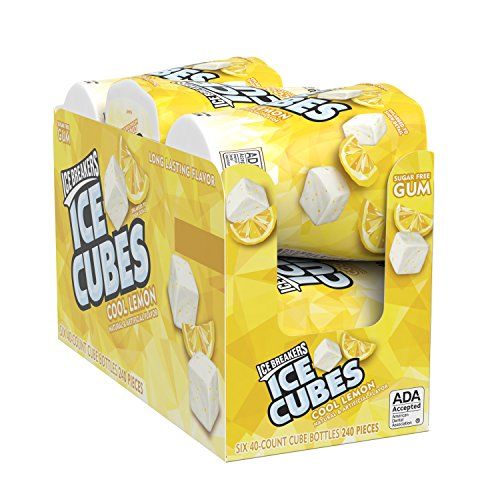 Ice Breakers Ice Cubes Sugar Free Gum with Xylitol, Cool Lemon, 40Piece (Pack of 6) ()