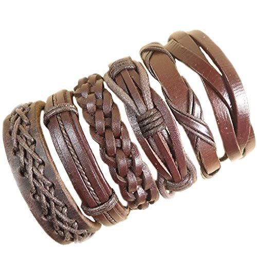 KAIISH Bracelet Mix Styles Braided Bracelets Or 6Pcs Leather Bracelets for Men Wrap Bangle Party Gifts