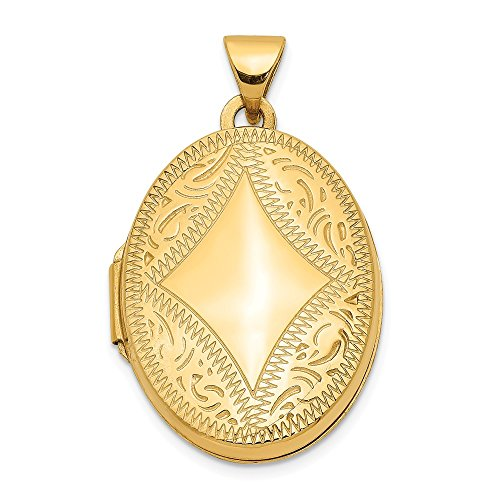 (14k Yellow Gold Oval Photo Pendant Charm Locket Chain Necklace That Holds Pictures Fine Jewelry Gifts For Women For Her)