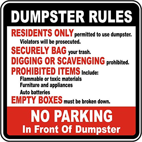 (Traffic Signs - Dumpster Rules No Parking Sign 12 x 18 Aluminum Sign Street Weather Approved Sign 0.04 Thickness)