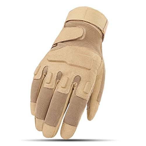 Full Finger Hard Knuckle Motorcycle Military Tactical Combat Training Army Shooting Outdoor Gloves (Yellow, L)