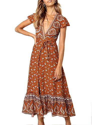 - ZESICA Women's Bohemian Floral Printed Wrap V Neck Short Sleeve Split Beach Party Maxi Dress Tangerine
