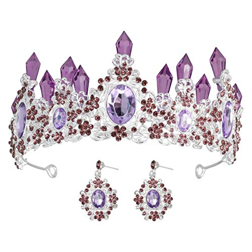 - Lurrose Purple Crystal Crown Bridal Noble Tiara Magnificent Rhinestone Diadem For Princess Wedding Jewelry Set for Women and Girls (Purple)