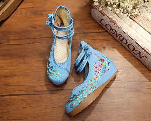 Eeayyygch Bestickte Schuhe Leinen Sehnensohle Sehnensohle Sehnensohle Ethno-Stil Frauenschuhe Mode bequem lässig hellblau (Farbe   - Größe   -) 13cc60