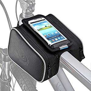 "ArcEnCiel Bike Frame Bag Bicycle Top Tube Pouch Waterproof Cell Phone Holder ≤ 5.7"" Touch Screen"
