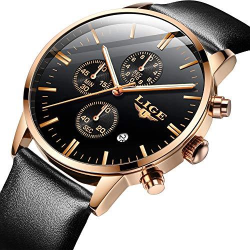 LIGE Mens Watches Leather Fashion Casual Analog Quartz Watch Men Sport Waterproof Wristwatch Chronograph Black Gold Business Dress Date Clock