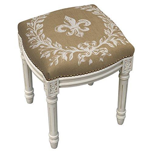 Kensington Bedroom Collection - KensingtonRow Home Collection Accent Stools - Fleur De Lis Upholstered Stool - Vanity Seat - Beige Linen Seat Cushion