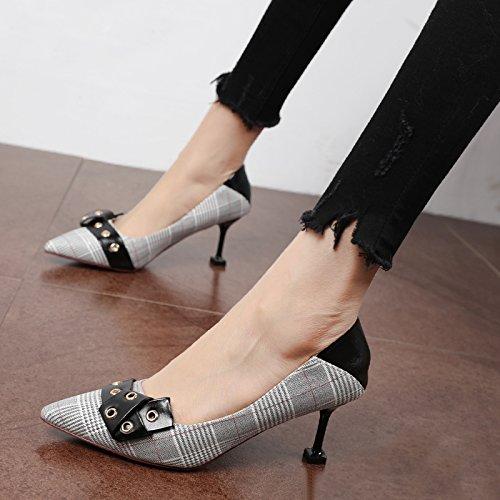 Xue Qiqi Pumps In den high-heel schnalle Schuhe Tipp schnalle high-heel Schuh Obermaterial Leder nähen Schuhe Damenschuhe 3c2d15
